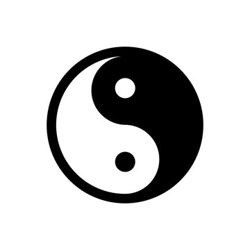 Yin Yang - vector icon. Black and white symbol of harmony and balance. Isolated