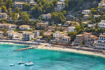 Wall Mural - Aerial view of Port de Soller, Mallorca, Spain.
