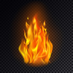 Isolated fire emoji on transparent background.