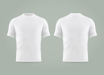 Wall Mural - Set of isolated white t-shirt or realistic apparel