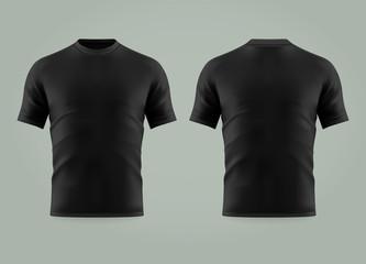 Wall Mural - 3d or realistic black t-shirt or shirt wear