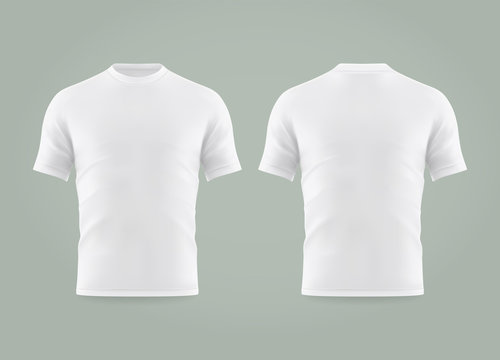 Set of isolated white t-shirt or realistic apparel