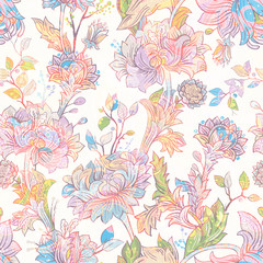 Foto op Aluminium Botanisch Jacobean seamless pattern. Flowers background, ethnic style. Stylized climbing flowers. Decorative ornament backdrop for fabric, textile, wrapping paper, card, invitation, wallpaper, web design