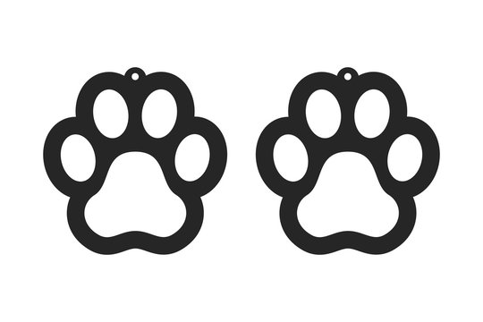 Paw earrings. Dog tag for collar. Laser cut template. Jewelry making. Vector