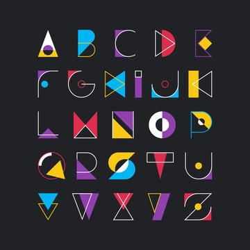 Geometrical latin font, pop art graphical decorative type.