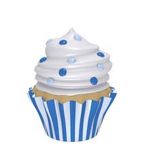 leckerer Cupcake in blau-weiß gestreiften Förmchen mit Sahnehaube und blauen Smarties.