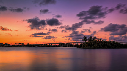 A Florida Bridge and a Colorful Sunset
