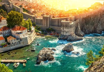 Dubrovnik fortification wall  in old city . Croatia