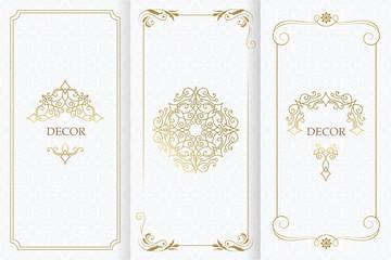Ornate decor, border for invitation, card. Flourishes ornaments cards. Wall mural