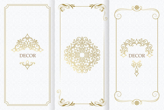Ornate decor, border for invitation, card. Flourishes ornaments cards.