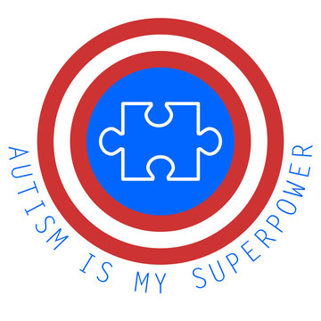 Autism is my superpower. World autism awareness day. Symbol of autism. Medical flat illustration. Health care. Vector design illustration with puzzles