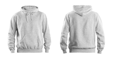 Set of stylish hoodie sweater on white background, front and back view. Space for design Wall mural