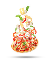 Canvas Prints Pizzeria Delicious pizza with tomatoes and sausages on white background