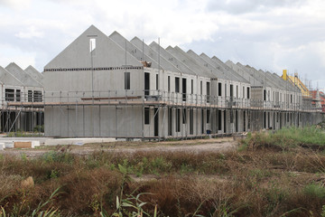 Construction of houses in a new residential district Koningskwartier in Zevenhuizen the Netherlands