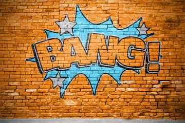 Foto auf AluDibond Graffiti Bang! Comic Ziegelsteinmauer Graffiti