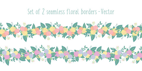 Floral border vector set seamless with stylized flowers. Spring or summer flower garland pink yellow orange blue, green leaves. Endless horizontal texture for wedding invitation, card, fabric, ribbon