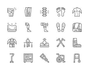 Obraz Set of Medical Rehabilitation and Orthopedic Line Icons. - fototapety do salonu