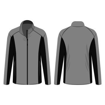 Black and grey sport winter zipped fleece jacket isolated vector on the white background