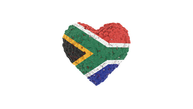 South Africa National Day. April 27. Freedom Day. Flowers forming heart shape. 3D rendering.