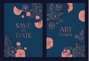 Flower Card or Cover Set. Wedding, Anniversary, Birthday Invitation. Thank You Banner. Art Nouveau Design. Wall mural