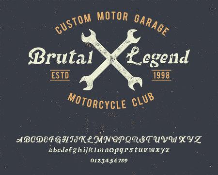 Brutal Legend. Handmade font. Vintage typeface. Custom motor. Handmade logo and font. Retro American stile. Custom garage. Motorcycle club.