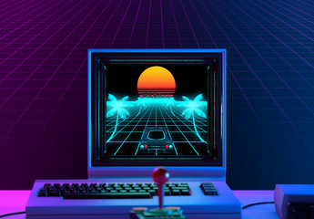 Retro game on a 1980's computer in neon blue and violet light - retrowave concept - 3D rendering
