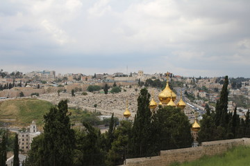 Foto op Aluminium Panoramic view on The Russian Church of Mary Magdalene located on the Mount of Olives, near the Garden of Gethsemane in East Jerusalem, Israel