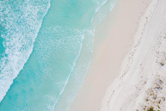 Aerial view of sandy tropical beach in summer at Western Australia, Australia.