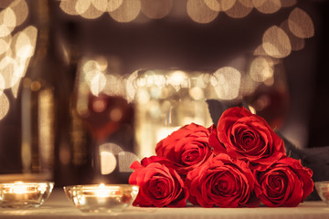 Wall Mural - Restaurant date night with roses and candles