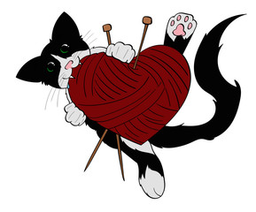 Tuxedo Cat Holding a heart shaped ball of yarn