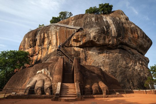 Lion Staircase, Lion Rock or Sigiriya, rock fortress, Central Province, Sri Lanka, Asia