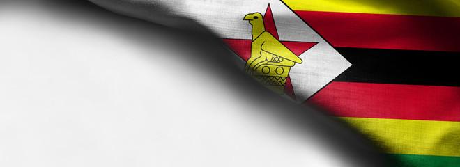 Zimbabwe waving flag on white background - right top corner flag