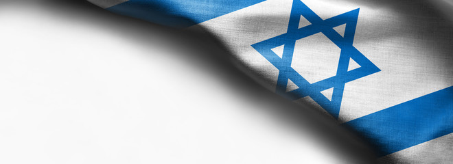 Waving colorful Flag of Israel on white background - right top corner flag