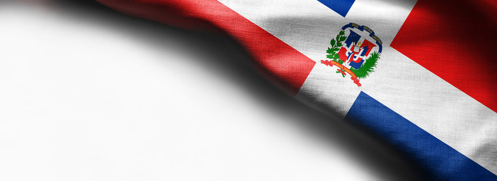Realistic colourful background, flag of Dominican Republic on white background - right top corner flag
