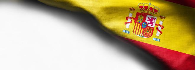 Spain waving flag on white background - right top corner flag