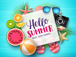 Hello summer vector banner template. Hello summer text in white space boarder with colorful beach elements like tropical fruits a beach ball in blue wood textured background. Vector illustration.