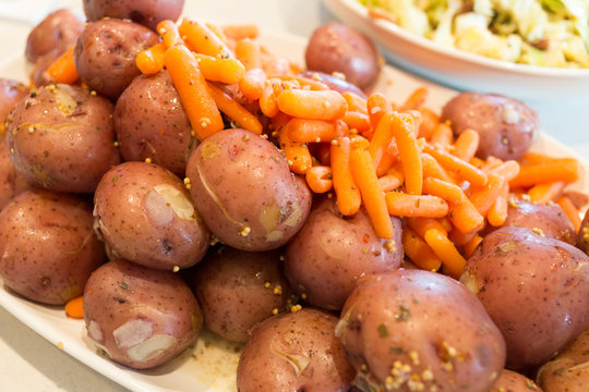 Boiled Potatoes and Steamed Baby Carrots