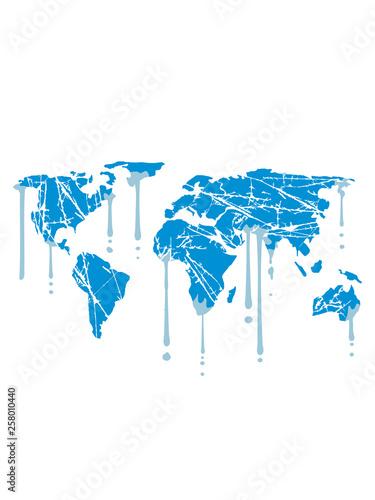 Globus Karte.Eis Schmelzen Graffiti Tropfen Kratzer Erde Globus Karte