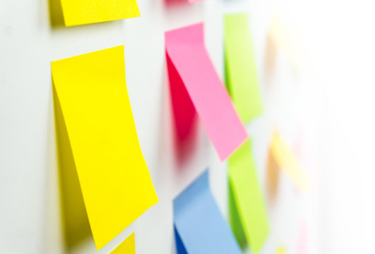 Colorful sticky post it notes