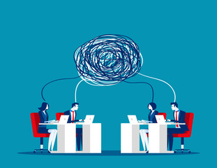 Business team with complex communication. Concept business vector illustration, Teamwork, Partner, Conflict.