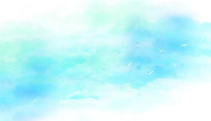 青空と鳥(水彩画タッチ) Wall mural