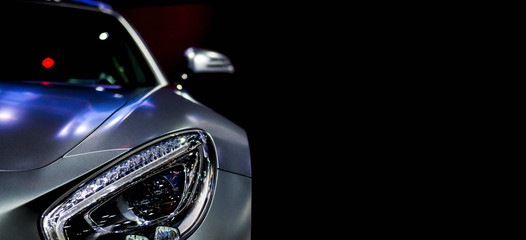 Detail on one of the LED headlights super car for copy space Wall mural