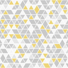 Geometric vector pattern with gray and golden triangles. Geometric modern ornament. Seamless abstract background