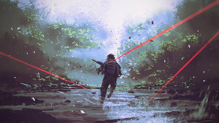 soldiers running away from the enemy's attack, digital art style, illustration painting