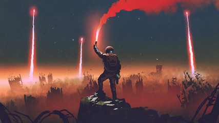 man holds a red smoke flare up in the air and standing against the apocalypse world, digital art style, illustration painting