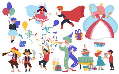 Child birthday costume party clown and cake kids