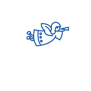 Christmas angel with trumpet line concept icon. Christmas angel with trumpet flat  vector website sign, outline symbol, illustration.