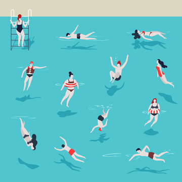 Swimming pool men and women in water jumping and diving