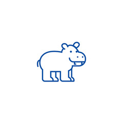Cute hippo line concept icon. Cute hippo flat  vector website sign, outline symbol, illustration.