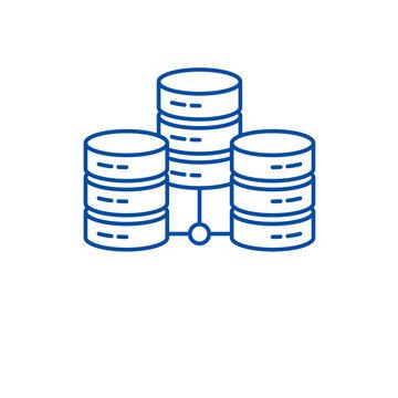 Data center line concept icon. Data center flat  vector website sign, outline symbol, illustration.